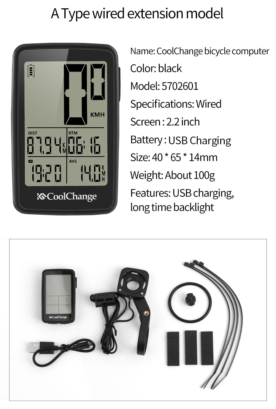 CoolChange Bicycle Computer Wired and Wireless Cycling Computer Speedometer Odometer Rainproof MTB Bike Computer USB Rechargable