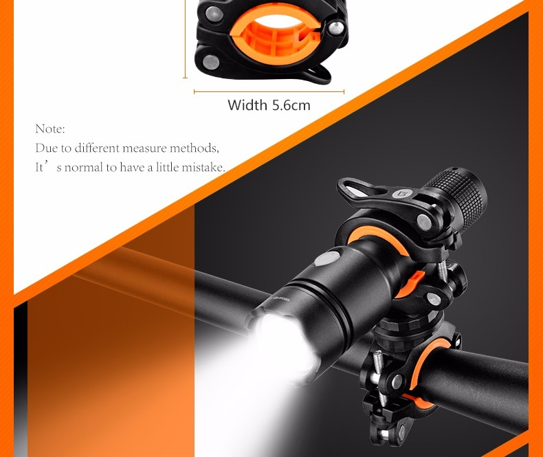 ROCKBROS 360 Degree Rotation Cycling Clip Clamp Bike Flashlight Torch Mount LED Head Front Light Holder Clip Bicycle Accessories